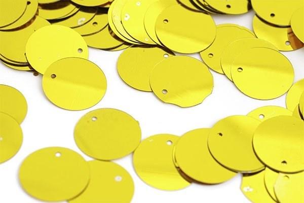 Пайетки россыпью Ideal  арт.ТВY-FLK045  35мм  цв.A007 желтый уп.50гр - фото 196885