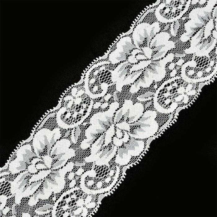 Кружево-стрейч арт.TBY-T558 шир.80мм цв.белый уп.18,3м - фото 229642