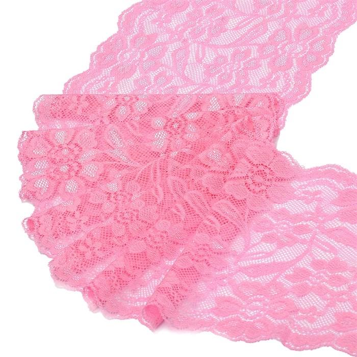 Кружево-стрейч арт.TBY-RY08 шир.180мм цв.розовый уп.18,3м - фото 243836