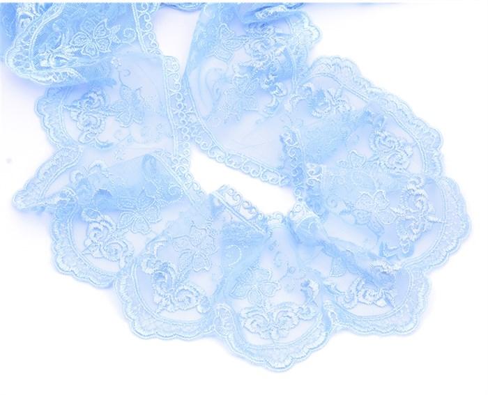Кружево на сетке арт.TBY.3T006W шир.103мм цв.6 голубой уп.13,71м - фото 244645