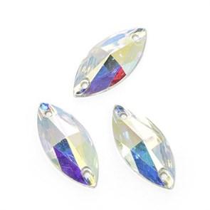 Стразы пришивные акриловые (Resin) Tesoro Crystal арт.TS.ED7.3.10 цв.AB Crystal 11*24 мм уп.10 шт