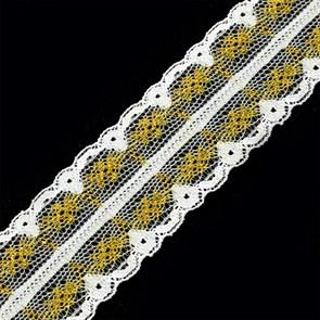 Кружево-трикотаж арт.TBY-211-2 цв.золото уп.22,86м