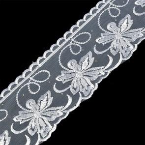 Кружево на сетке TBY-SL3.01 шир.95мм цв.белый уп.9,14м