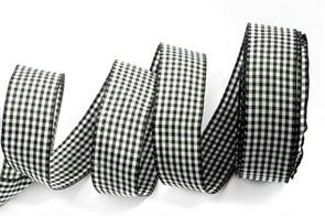 Лента шотландка 30мм арт. С3721Г17  рис 9256  цв. черный/белый уп. 25м