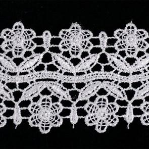 Кружево гипюр арт.TBY-KB- 3 шир.50мм цв.белый уп.13.71м