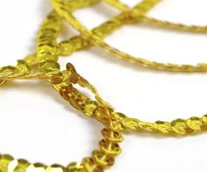 Пайетки на нитях 6мм Silver Base арт.TBY-FLKU06-SB цв.A1 желтый уп.73.12м