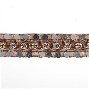 Тесьма с пайетками TBY арт.TH249   шир.20мм  цв.32 коричневый уп.18,28м
