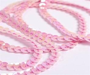 Пайетки на нитях 6мм Cream Colour арт.TBY-FLKU06-CC цв.0022 розовый уп.73.12м