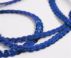 Пайетки на нитях 6мм Silver Base арт.TBY-FLKU06-SB цв.05 синий уп.73.12м