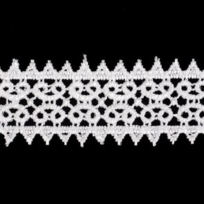 Кружево гипюр арт. КМС-1230 шир.26мм цв.белый уп.13.71м