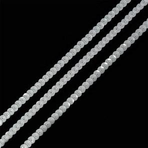 Пайетки на нитях 6мм Silver Base арт.TBY-FLKU06-SB цв.L010 белый уп.73.12м