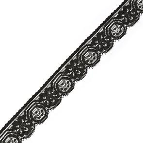 Кружево-стрейч арт.TBY-2076 шир.27мм цв.черный уп.18,3м