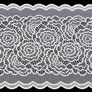 Кружево-стрейч арт.TBY-51030 шир.220мм цв.белый уп.18,3м