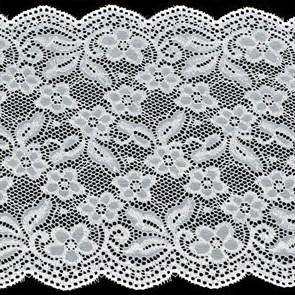 Кружево-стрейч арт.TBY-D717 шир.200мм цв.белый уп.18,3м