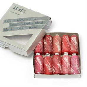 Набор бытовых ниток  IDEAL  40/2  , 366м  100% п/э, ассорти (красные оттенки) уп.10шт