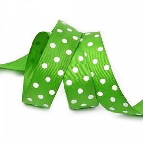 Лента репсовая арт.LDRG57902925 (113) крупный горох 25мм  цв.зеленый-белый уп.27,4м