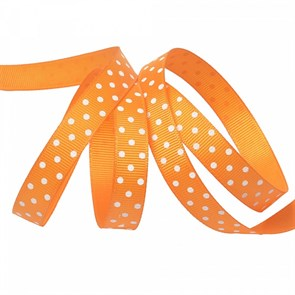 Лента репсовая арт.LDRG66802912 (118) крупный горох 12мм  цв.оранжевый-белый уп.27,4м