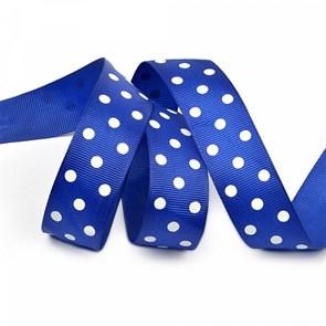 Лента репсовая арт.LDRG32902925 (101) крупный горох 25мм  цв.синий-белый уп.27,4м