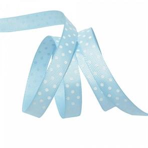 Лента репсовая арт.LDRG31102912 (97) крупный горох 12мм  цв.голубой-белый уп.27,4м