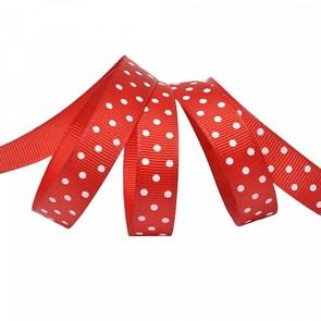 Лента репсовая арт.LDRG25002912 (91) крупный горох 12мм  цв.красный-белый уп.27,4м