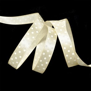 Лента атласная арт.LDAG81502912 (64) крупный горох 12мм  цв.бежевый-белый уп.27,4м