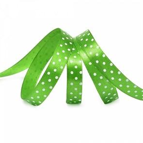 Лента атласная арт.LDAG57902912 (52) крупный горох 12мм  цв.зеленый-белый уп.27,4м
