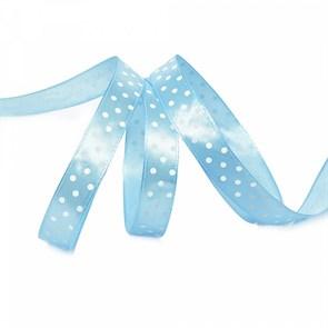 Лента атласная арт.LDAG31102912 (37) крупный горох 12мм  цв.голубой-белый уп.27,4м