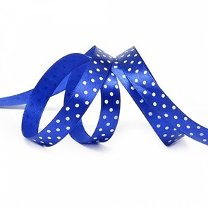 Лента атласная арт.LDAG32902912 (40) крупный горох 12мм  цв.синий-белый уп.27,4м