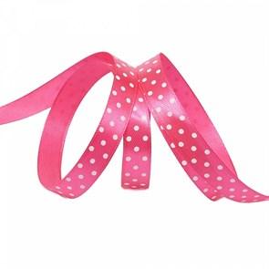 Лента атласная арт.LDAG17502912 (29) крупный горох 12мм  цв.розовый-белый уп.27,4м