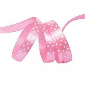Лента атласная арт.LDAG15502912 (26) крупный горох 12мм  цв.св.розовый-белый уп.27,4м