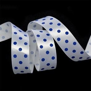 Лента атласная арт.LDAG02932925 (14) крупный горох 25мм  цв.белый-синий уп.27,4м