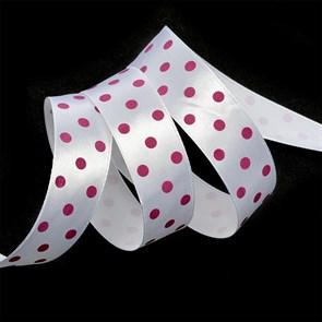 Лента атласная арт.LDAG02918725 (5) крупный горох 25мм  цв.белый-розовый уп.27,4м