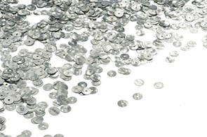 Пайетки плоские россыпью Ideal ТВY-FLK022 6мм цв.01 серебряный уп.50гр