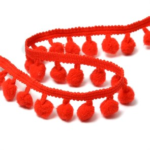 Тесьма с помпонами цв.F162 (026) красный арт.TBY-LC-20 шир.15-20мм уп.10м