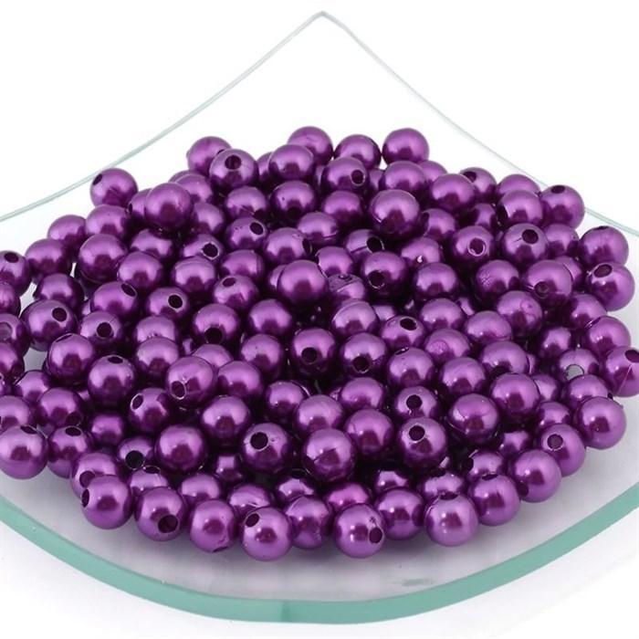 Бусины MAGIC HOBBY круглые перламутр  8мм  цв.207 фиолетовый уп.50гр  (220 шт) - фото 161840