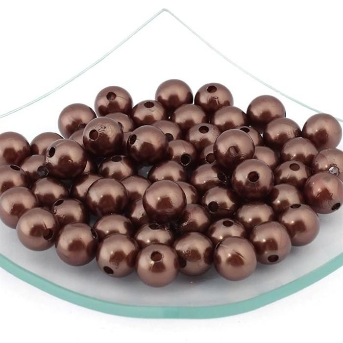 Бусины MAGIC HOBBY круглые перламутр 12мм  цв.158 коричневый уп.50гр  (64 шт) - фото 162695