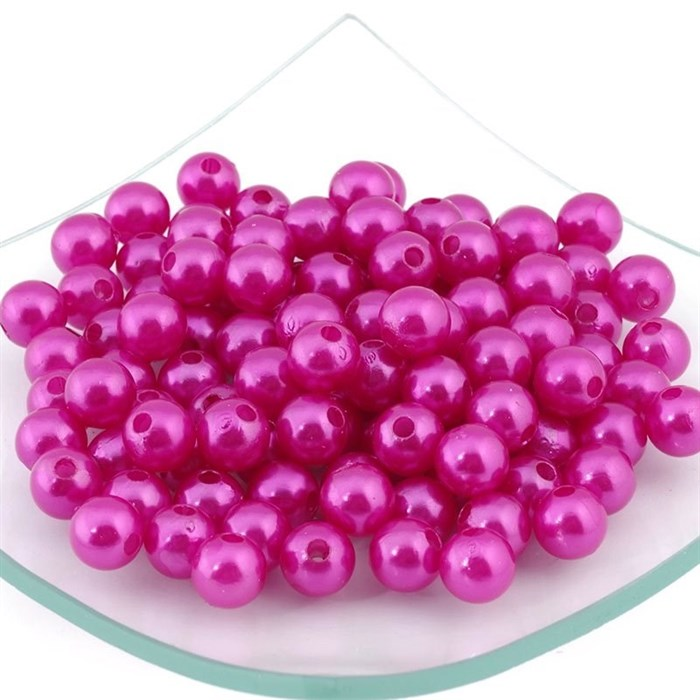 Бусины MAGIC HOBBY круглые перламутр 10мм  цв.137 розовый уп.50гр  (90 шт) - фото 162855