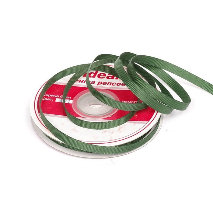 Лента репсовая шир. 6мм цв.587 т.зеленый IDEAL уп.22,85м - фото 165816