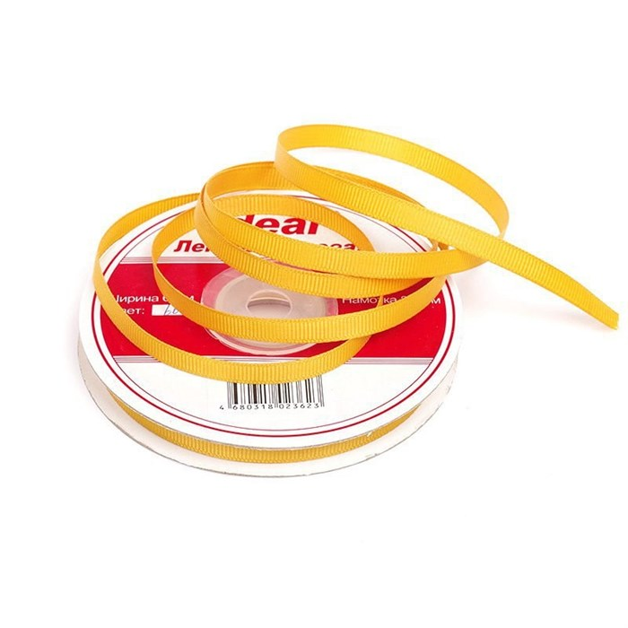 Лента репсовая шир. 6мм цв.662 св.оранжевый IDEAL уп.22,85м - фото 165817