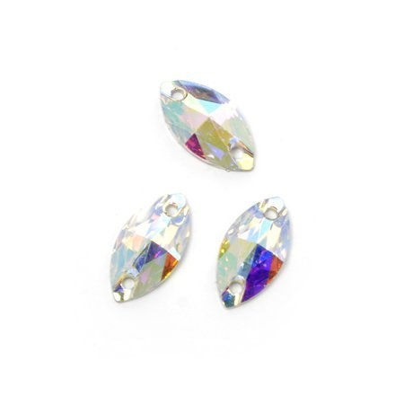 Стразы пришивные акриловые (Resin) Tesoro Crystal арт.TS.ED7.1.10 цв.AB Crystal 6*12 мм уп.20 шт - фото 175311