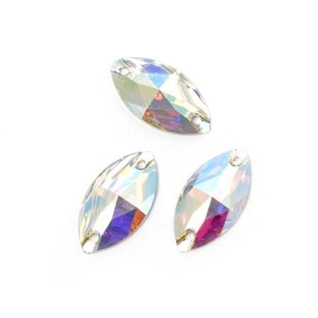 Стразы пришивные акриловые (Resin) Tesoro Crystal арт.TS.ED7.2.10 цв.AB Crystal 9*18 мм уп.10 шт - фото 175318