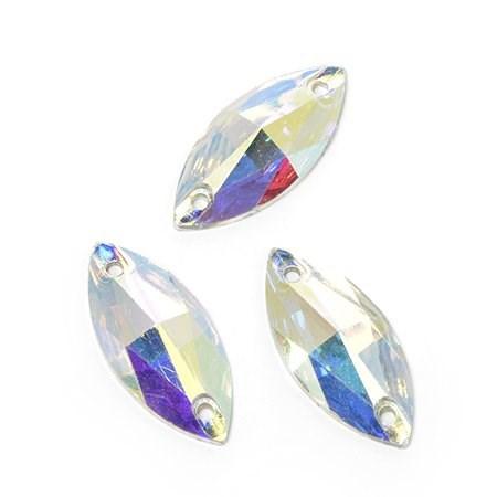 Стразы пришивные акриловые (Resin) Tesoro Crystal арт.TS.ED7.3.10 цв.AB Crystal 11*24 мм уп.10 шт - фото 176337
