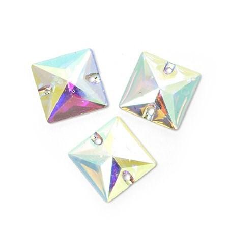 Стразы пришивные акриловые (Resin) Tesoro Crystal арт.TS.ED8.1.10 цв.AB Crystal 16 мм уп.10шт - фото 176339