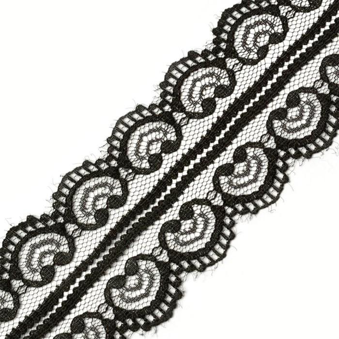 Кружево-трикотаж арт.TBY-5002-2 цв.черный уп.22,86м - фото 181904