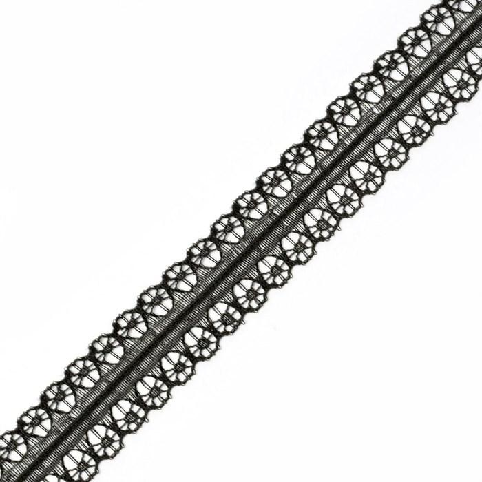 Кружево-трикотаж арт.TBY-769-2 цв.черный уп.22,86м - фото 181936