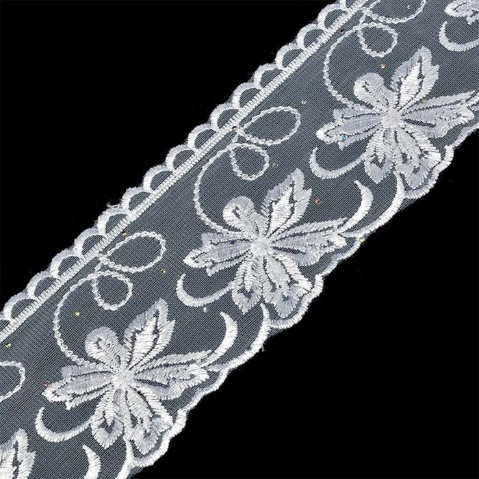 Кружево на сетке TBY-SL3.01 шир.95мм цв.белый уп.9,14м - фото 183067