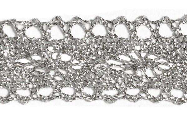 Тесьма отделочная  арт.10031 шир.25 мм  цв. серебро  уп.18.28м - фото 185400