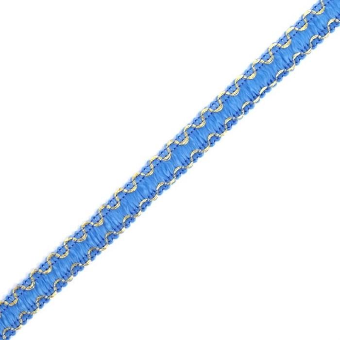 Тесьма отделочная 'Зиг-Заг' арт.с3729г17 рис.9254 с метанитом шир.10мм цв. синий-золото - фото 185587