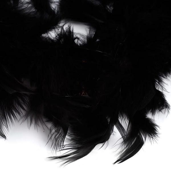 Боа - перо  арт.FBY-50-100  цв.черный 50гр уп.2м - фото 190499