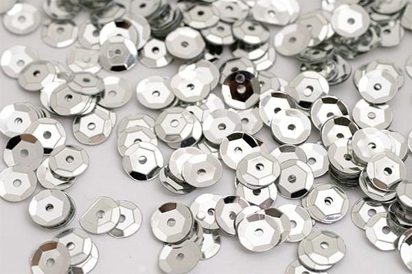 Пайетки россыпью Ideal  арт.ТВY-FLK032  8мм  цв.01 серебряный уп.50гр - фото 191563